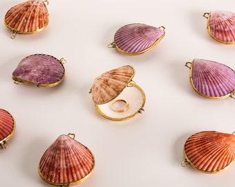 Shell Box - Seashell Ring Box, Beach Wedding, Perfume Holder, pill box jewelry beach coastal beach decor favor box sea shell