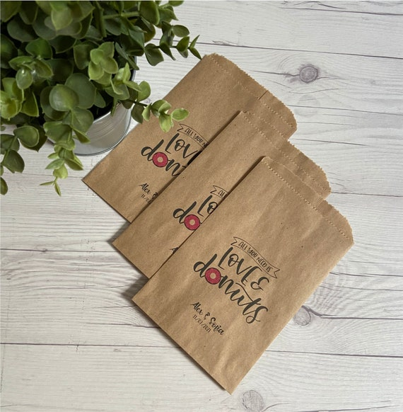 Donut Favor Bags Wedding Favors Bags All You Need Is Love /& Donuts Personalized Donut Bags