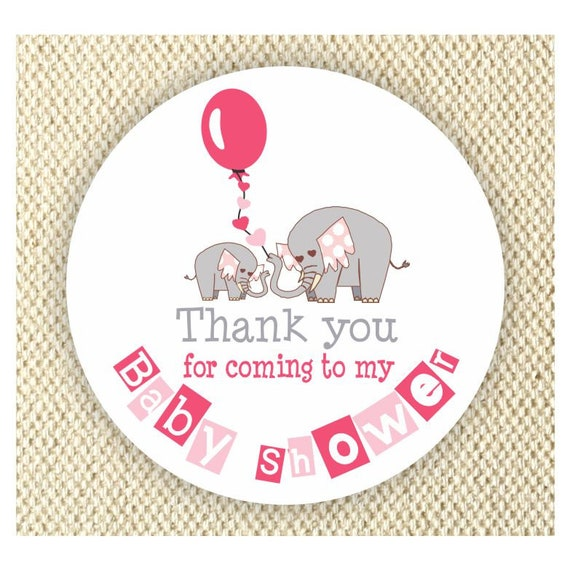 Elephant Baby Shower Thank You Stickers Girls Baby Shower Etsy