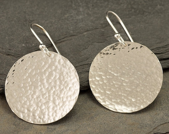 Silver Hammered Disc Earrings- Large Sterling Silver Earrings- Silver Hoop Earrings- Dangle Earrings- Large Disc Earrings