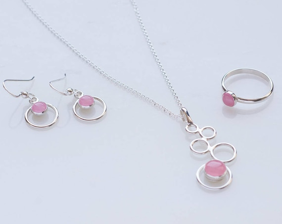 Pink Rose Quartz Jewelry Set- Pink gemstone jewelry- rose quartz- 3 piece set (necklace, earrings & ring)