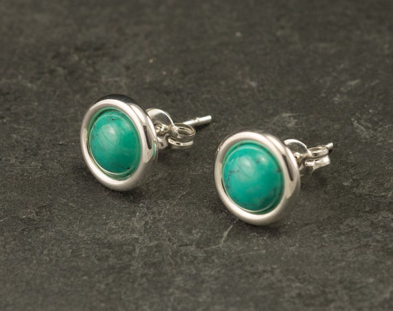 Turquoise Studs- Turquoise Earrings Stud- Turquoise Stud Earrings- Sterling Silver Studs- Silver Post Earrings with Turquoise
