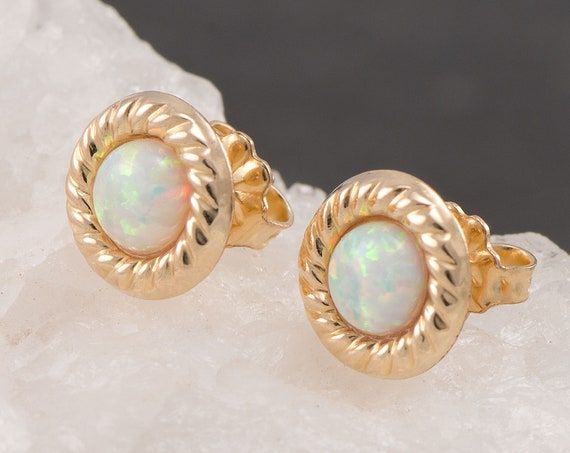 Opal Stud Earrings- Gold Opal Earrings- Gold Opal Stud Earrings- October birthstone-  14KT Gold Fill Gold Studs- Opal Post Earrings