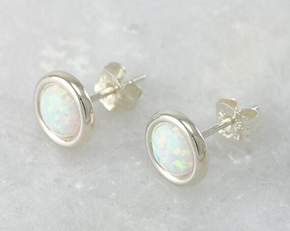 Opal Earrings- Opal Stud Earrings- October birthstone- Silver Opal Earrings- Sterling Silver Studs- Opal Post Earrings
