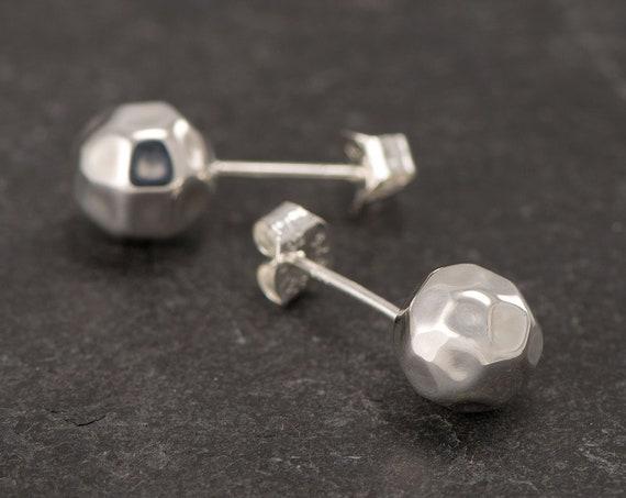 Hammered Ball Stud Earrings- Silver Brushed Ball Studs- Silver Ball Post Earrings- Small Silver Stud Earrings- Minimalist Everyday Earrings