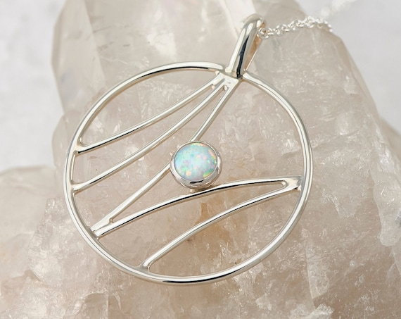 Opal Necklace- Opal Pendant- Sterling Silver Necklace with Opal- Opal Jewelry- Metalwork Necklace- Gemstone Necklace