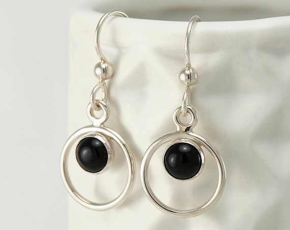 """Black Onyx Earrings- Black Stone Earrings- Silver Hoop Earrings- Dangle Earrings- Silver Jewelry """"Circle Duo Stone"""""""