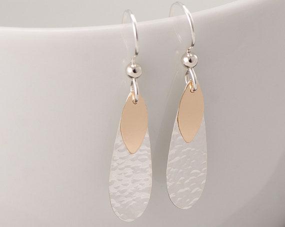Hammered Teardrop Earrings- Silver Gold Hammered Teardrop Earrings- Double Teardrop Earrings- Gold Silver Dangle Earrings