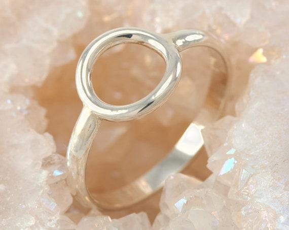 Circle Ring-Sterling Silver Circle Ring -Geometric Ring- Handmade Sterling Silver Ring- Simple Silver Ring