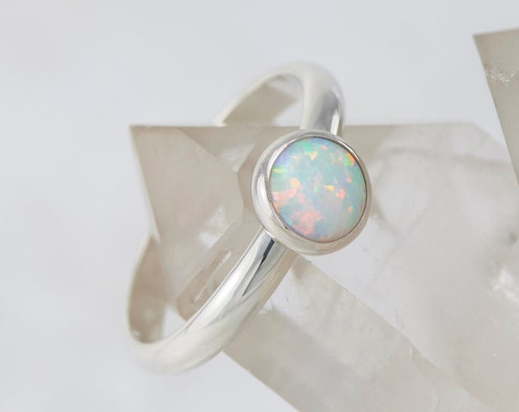 Opal Ring - Silver Opal Ring- White Opal Engagement Ring - Solitaire Opal Ring- Sterling Silver Gemstone Ring- October birthstone
