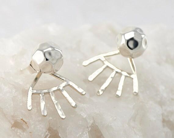 Spike Hammered Ear Jacket- Silver Ball Earrings- Ball Stud Earrings- Sterling Silver Studs- Hammered Post Earrings