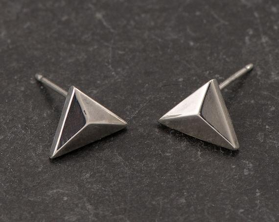 Silver Triangle Stud Earrings- Silver Chevron Studs- Silver Triangle Earrings- Geometric Stud Earrings- Sterling Silver Post Earrings
