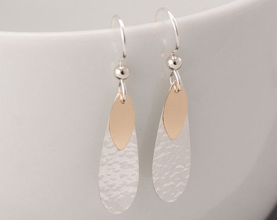 Hammered Teardrop Earrings- Silver Gold Hammered Teardrop Earrings- Double Teardrop Earrings- Gold Silver Dangle Earrings