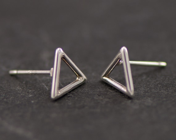 Silver Triangle Stud Earrings- Silver Chevron Studs- Silver Triangle Earrings- Geometric Stud Earrings- Sterling Silver Post Earrings