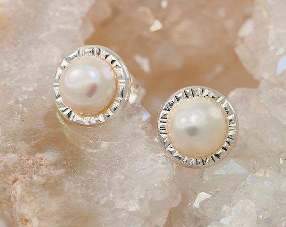 Pearl Studs- Pearl Earrings- Pearl Stud Earrings- June birthstone- Silver Pearl Earrings- Sterling Silver Studs- Pearl Post Earrings