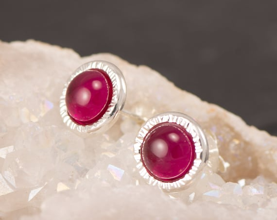 Ruby Earrings- Ruby Stud Earrings- July birthstone- Red Ruby Earrings- Sterling Silver Studs- Ruby Post Earrings- Valentine's Day Gift