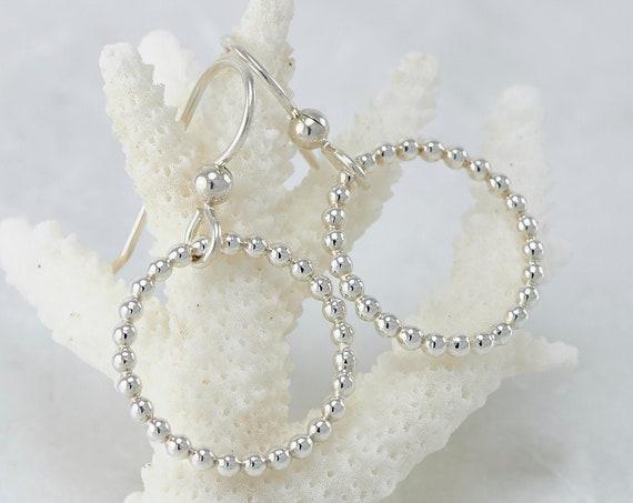 Simple Silver Earrings- Silver Hoops- Silver Hoop Earrings- Simple Hoops- Silver Dangle Earrings- Sterling Silver Jewelry Handmade
