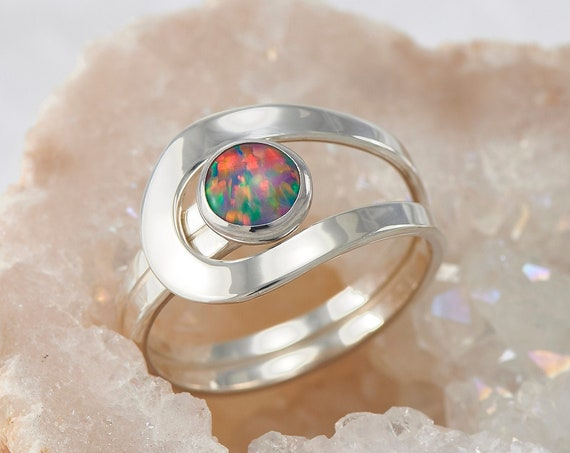 Blue Fire Opal Ring, Black Opal Ring, Iridescent Opal Gemstone Ring, Rainbow Silver Stone Ring, Handmade Sterling Silver Statement Ring