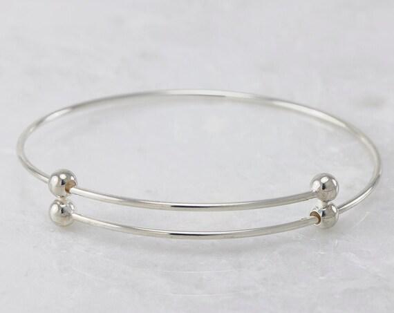 Sterling Silver Bangle Bracelet- Adjustable Bangle with Balls- Expandable Silver Bracelet