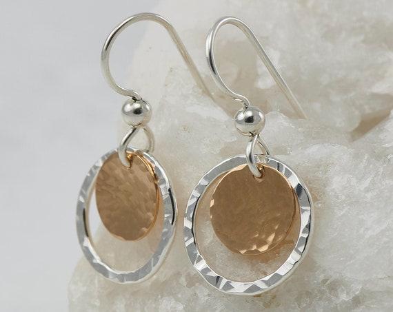 Hammered Silver Hoop Earrings- Silver Gold Earrings- Hammered Hoop Earrings- Gold Disc Earrings- Small Hoop Earrings - Silver Gold Hoops