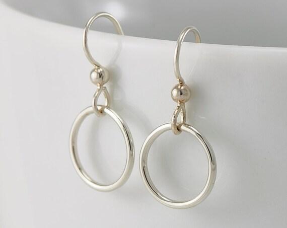 Small Hoop Earrings- Sterling Silver Earrings- Silver Hoop Earrings- Simple Circle Hoop Earrings- Simple Silver Hoops- Everyday Hoops