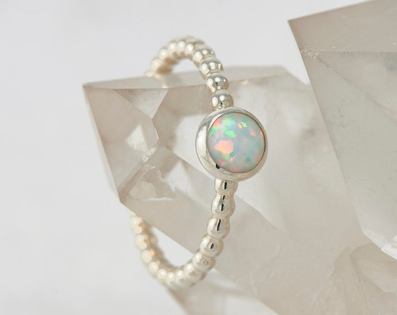 Opal Ring- Silver opal ring- Modern Opal Ring with dotted pattern band- Sterling Silver Ring- Silver jewelry