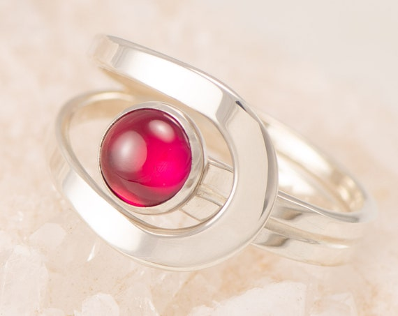Ruby Ring, July Birthstone, Silver Ruby Ring, Red Gemstone Ring, Sterling Silver Red Stone Ring, Valentine's Day Gift