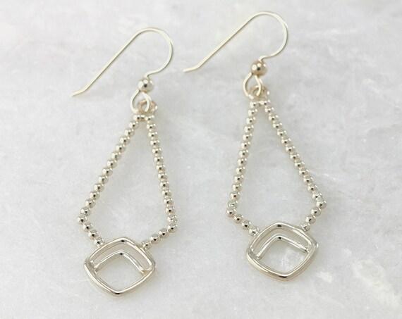 Silver Triangle Earrings- Sterling Silver Geometric Earrings- Silver Chevron Diamond Earrings- Sterling Silver Dangle Earrings