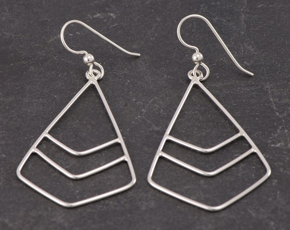 Silver Triangle Earrings- Sterling Silver Geometric Earrings- Silver Chevron Earrings- Sterling Silver Dangle Earrings - Feather Earrings