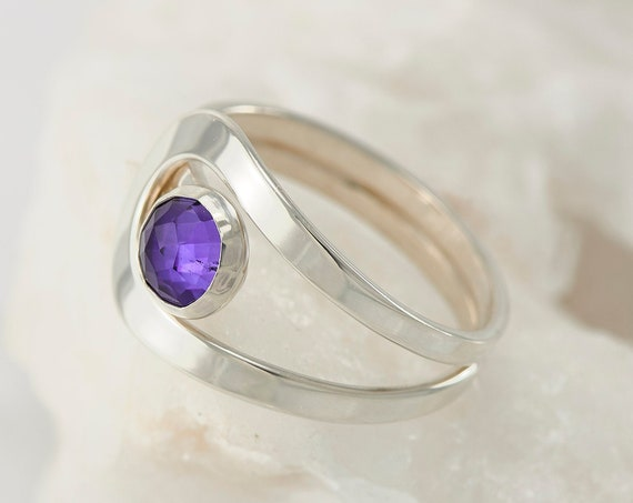 Amethyst Ring- Sterling Silver Amethyst Ring- Purple Stone Ring- February Birthstone Ring- Handmade Silver Jewelry Amethyst
