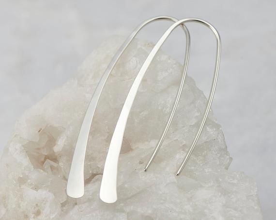 Open Hoop Earrings- Arc Ear Threaders -Threader Arc Hoops- Simple Silver Earrings- Long Silver Earrings- Modern Minimalist Dangle Earrings