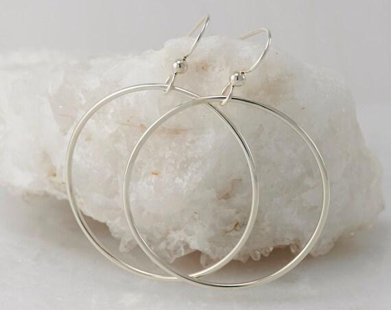 Large Silver Hoops- Silver Hoop Earrings- Large Hoop Earrings- Simple Sterling Hoop Earrings- Simple Silver Hoops