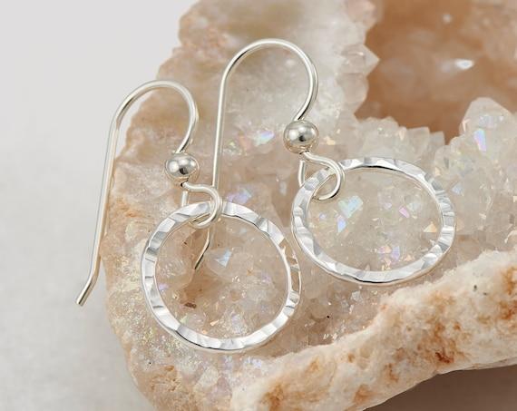 Hammered Silver Hoop Earrings- Simple Sterling Silver Earrings- Hammered Hoop Earrings- Small Hoop Earrings - Small Silver Hoops