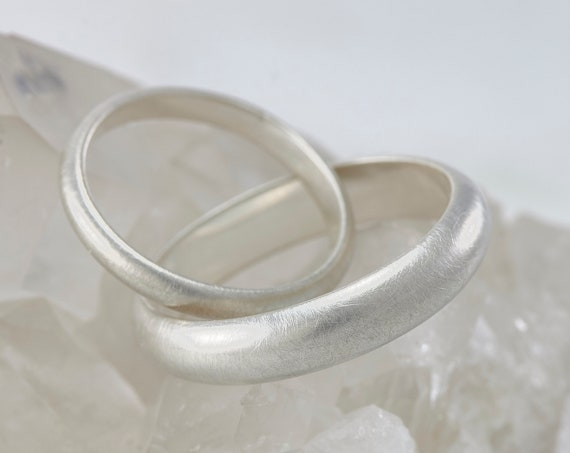 Wedding Band Set- Brushed Wedding Rings- Sterling Silver Wedding Ring Set- His and Her Brushed Wedding Band Set