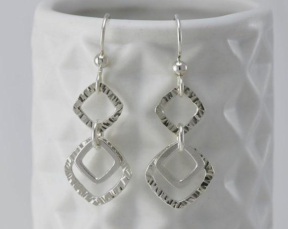 Silver Geometric Earrings- Sterling Silver Square Earrings- Silver Diamond Chevron Earrings- Sterling Silver Dangle Earrings