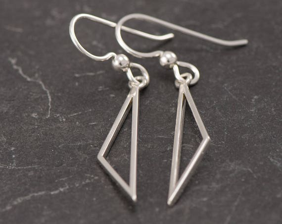 Silver Triangle Earrings- Sterling Silver Triangle Earrings- Silver Dangle Earrings- Sterling Silver Earrings- Simple Silver Earrings