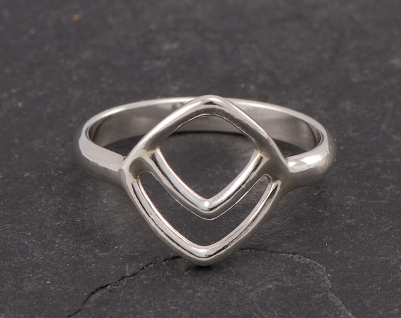 Chevron Ring-Sterling Silver Triangle Ring -Geometric Ring- Handmade Sterling Silver Diamond Ring- Simple Silver Boho Ring