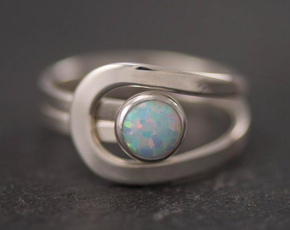 Opal Ring, Blue Opal Ring, Opal Gemstone Ring, Sterling Silver Stone Ring, Handmade Sterling Silver Statement Ring, October Birthstone