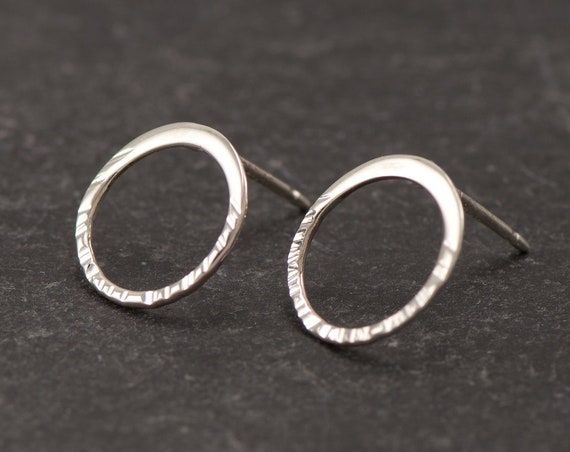 Hammered Hoop Stud Earrings- Sterling Silver Circle Studs- Silver Hoop Post Earrings- Small Silver Stud Earrings- Small Hammered Hoops