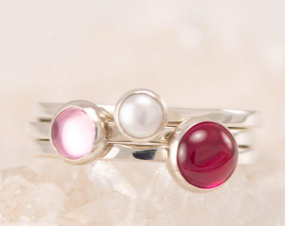 Custom Stacking Rings- Birthstone Stacking Ring Set- Mothers Ring Stackable - Gemstone Stack Rings- Birthstone Rings- Valentine's Day Rings
