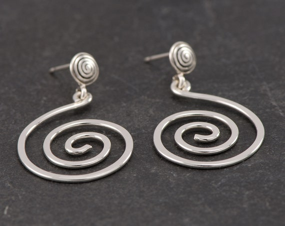Stud Spiral Earrings- Sterling Silver Swirl Earrings- Sterling Silver Spiral Post Earrings- Stud Earrings- artulia