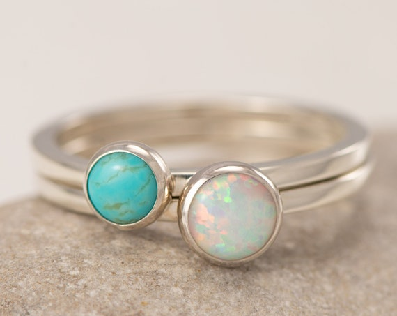 Stacking Rings- Silver Stacking Ring Set- Stack Rings- Stone Rings- Turquoise Ring, Opal Ring, Stackable Rings