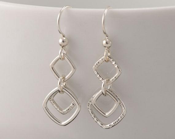 Silver Geometric Earrings- Sterling Silver Chevron Earrings- Silver Diamond Earrings- Sterling Silver Dangle Earrings