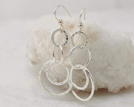 Hammered Silver Earrings- Simple Sterling Silver Earrings- Hammered Silver Hoop Earrings- Dangle Earrings- Modern Silver Jewelry