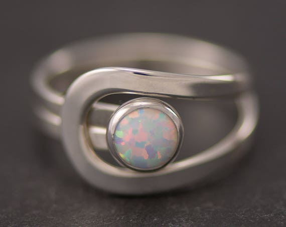 Opal Ring, Silver Opal Ring, Gemstone Ring, Sterling Silver Stone Ring, Handmade Sterling Silver Statement Ring