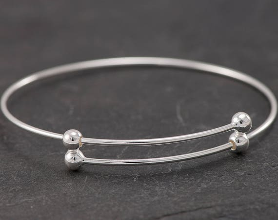 Sterling Silver Bangle Bracelet- Adjustable Bangle with Balls- Silver Bracelet