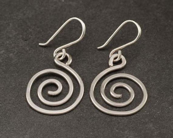 Spiral Earrings Sterling Silver Earrings- Silver Swirl Earrings- Sterling Silver Spiral Earrings- Dangle Earrings- Silver Jewelry