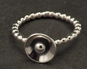 """Sterling Silver Ring- Modern Silver Ring- Domed Disc Ring- Silver Jewelry- """"Mod Dot Ring"""" - 6 & 7.5"""