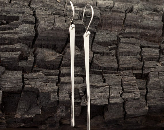 Long Sterling Silver Bar Earrings- Silver Stick Earrings- Long Bar Earrings- Silver Stick Dangle Earrings