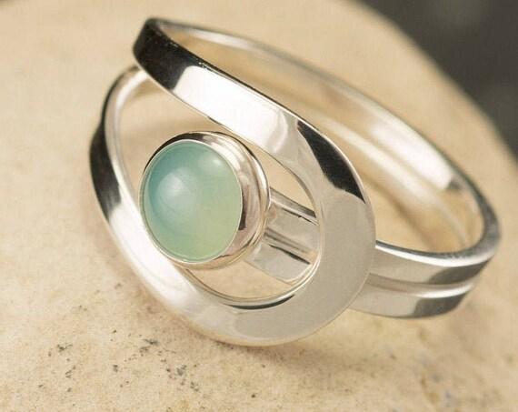 Aqua Chalcedony Ring, Light Blue Gemstone Ring, Sterling Silver Stone Ring, Aqua Mint Stone Ring, Sea Foam Green